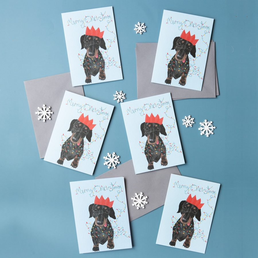 sausage dog,christmas sausage dog, christmas dog card, merry christmas dog card, sausage dog christmas card, party hat, christmas lights, eco-friendly, plastic free, FSC paper, luxury christmas card, recycled chritmas card