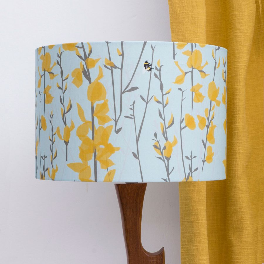Bee lampshade - broom and bee design - blue and yellow - lorna syson homeware