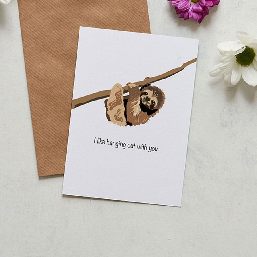 Greetings Card Luxury Designer Personalised Message Sustainable Environmentally Friendly FSC Paper Plastic Free - Valentine's Card - I Like Hanging Out With You - Lorna Sysonne's Card - I Like Hanging Out With You - Lorna Syson