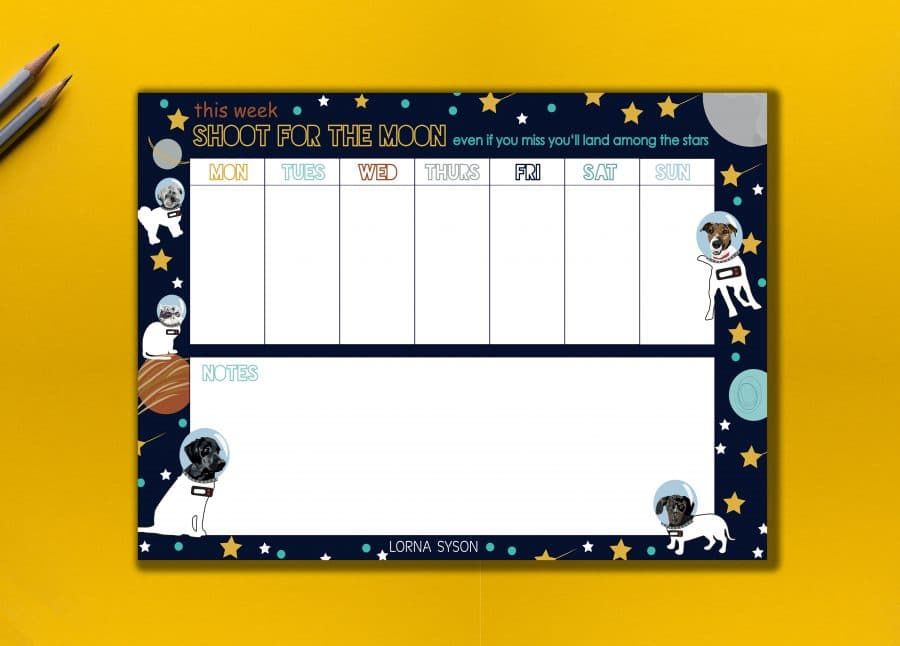 space dog and cat Christmas Gift Birthday Present Pets Weekly Planner Designer Ethical Recycled Card FSC Paper UK Printing