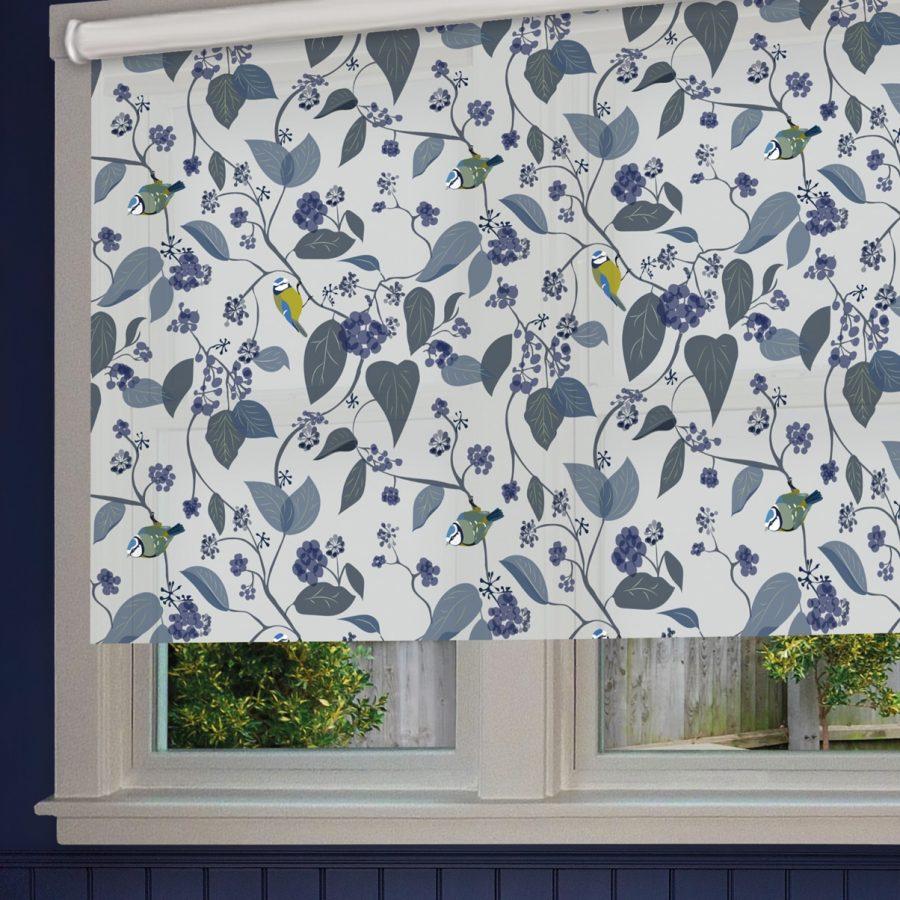 spring ivy blue roller blind - blue tit and foliage - lorna syson homeware