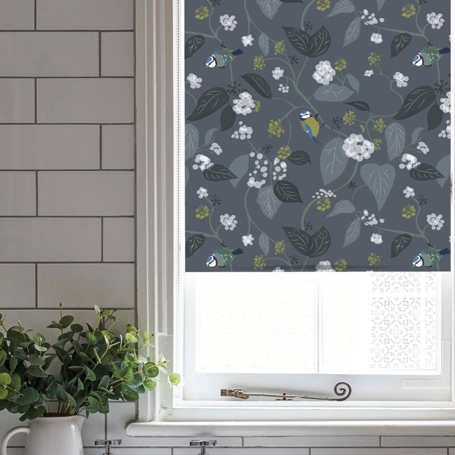 spring ivy slate roller blind - bluetit and foliage - lorna syson homeware