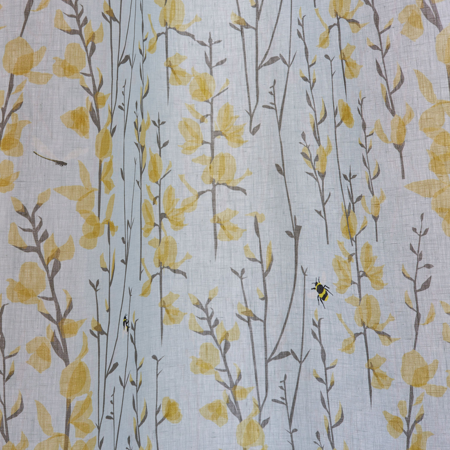 blue bee and dragonfly - sky blue and yellow - fabric by the linear metre - lorna syson living