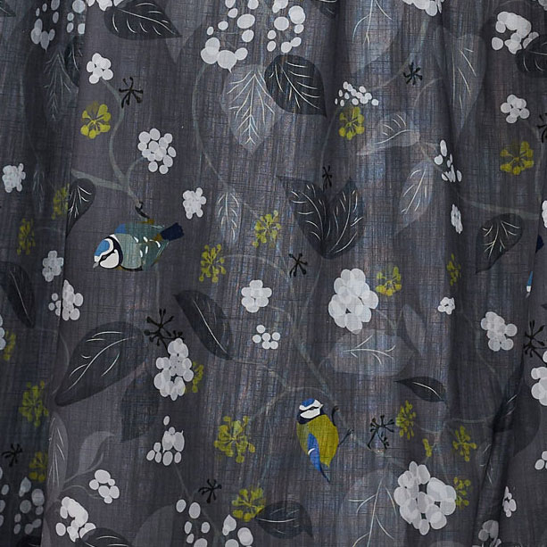 Blue tit fabric for cushions - Blue Tit Grey - Lorna Syson