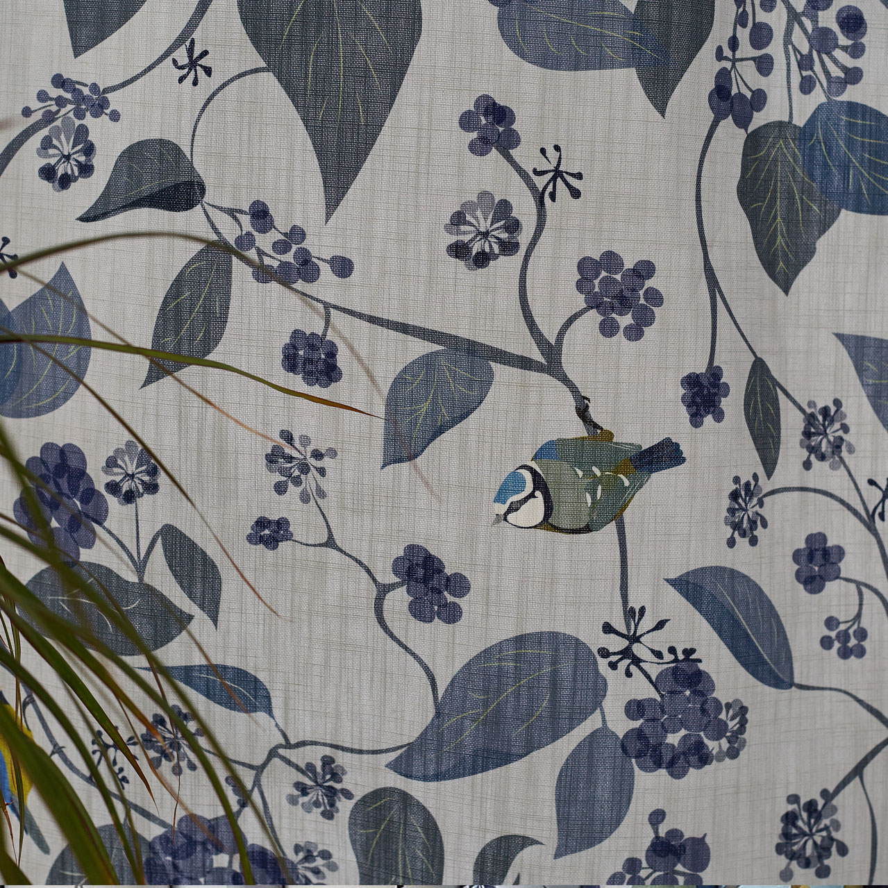 Blue Tit Fabric - Fabric by the metre - Blue Tit Bird - Lorna Syson
