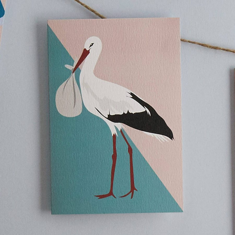 Sally the stork new baby card by lorna syson