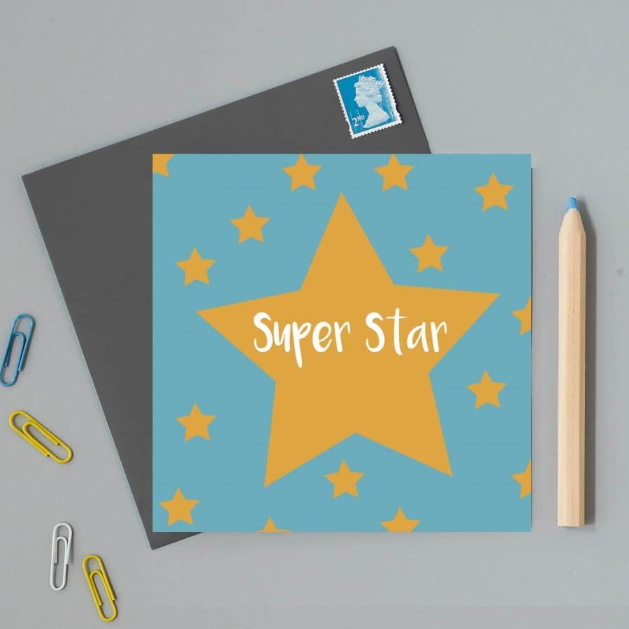 Greetings Card Luxury Designer Personalised Message Sustainable Environmentally Friendly FSC Paper Plastic Free - superstar