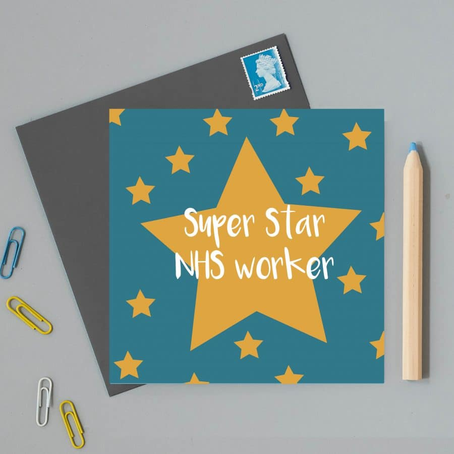 Greetings Card Luxury Designer Personalised Message Sustainable Environmentally Friendly FSC Paper Plastic Free - NHS worker greeting card