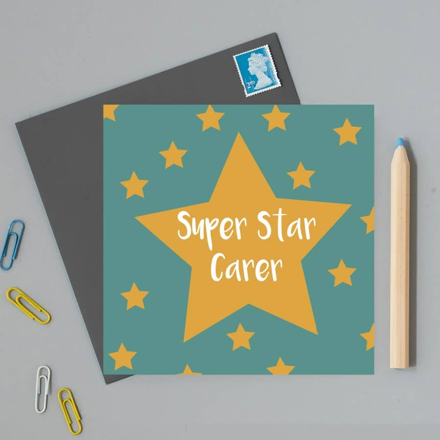 Greetings Card Luxury Designer Personalised Message Sustainable Environmentally Friendly FSC Paper Plastic Free - super star carer