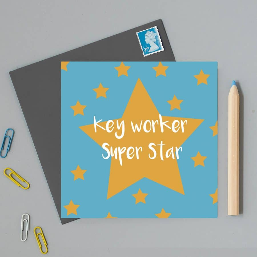 Greetings Card Luxury Designer Personalised Message Sustainable Environmentally Friendly FSC Paper Plastic Free - superstar key worker greeting card