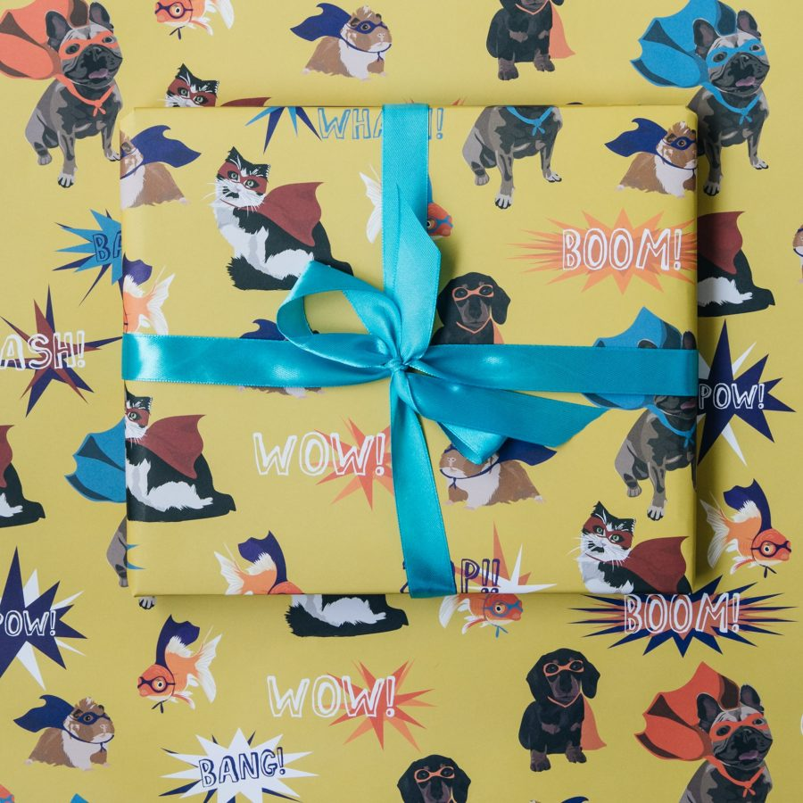 wrapping paper, luxury wrapping paper, gift wrap, plastic free, FSC Paper, enviromentally friendly, sustainable, birthday paper, birthday wrapping paper. gifts, superhero wrapping paper