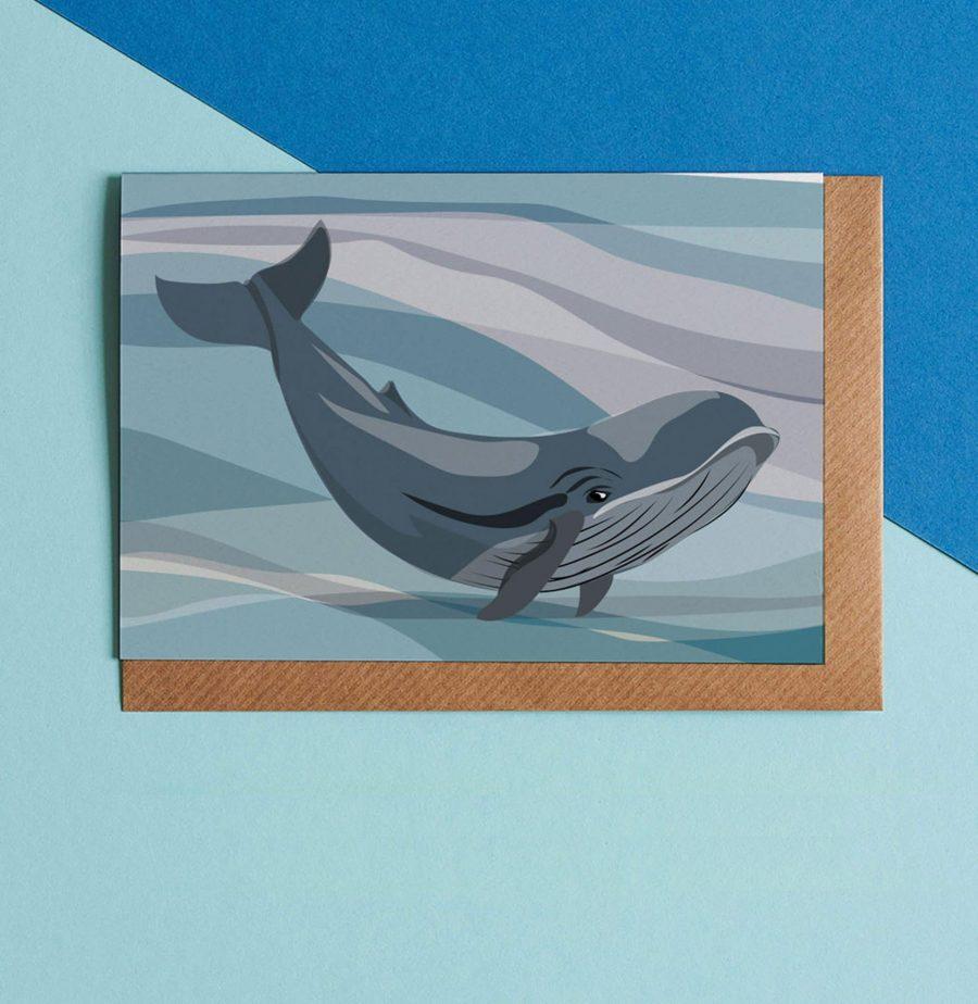 Wildlife Card - Blue Whale Illustration - Lorna Syson