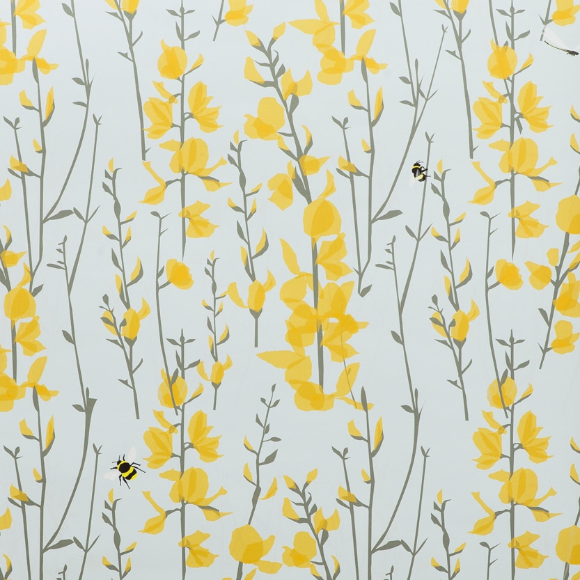 Bee Wallpaper - Blue and yellow floral with bees - Lorna Syson