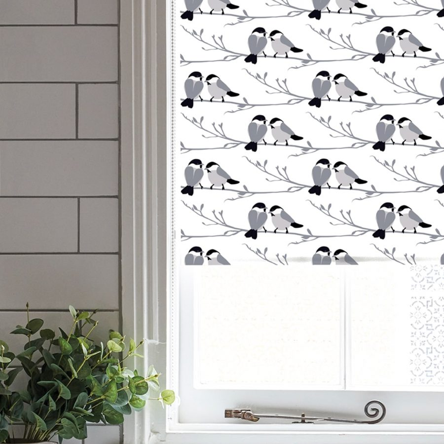 willow tit roller blind - monochrome bird - lorna syson homeware