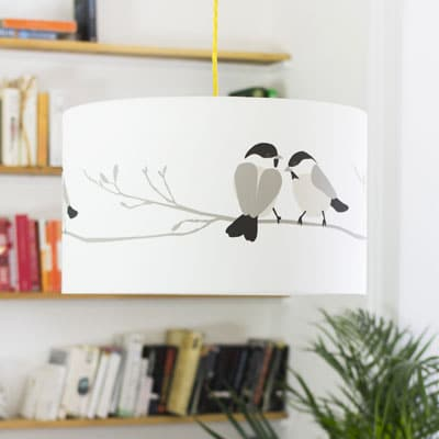 Grey bird lampshade - willow tit bird design - lorna syson homeware