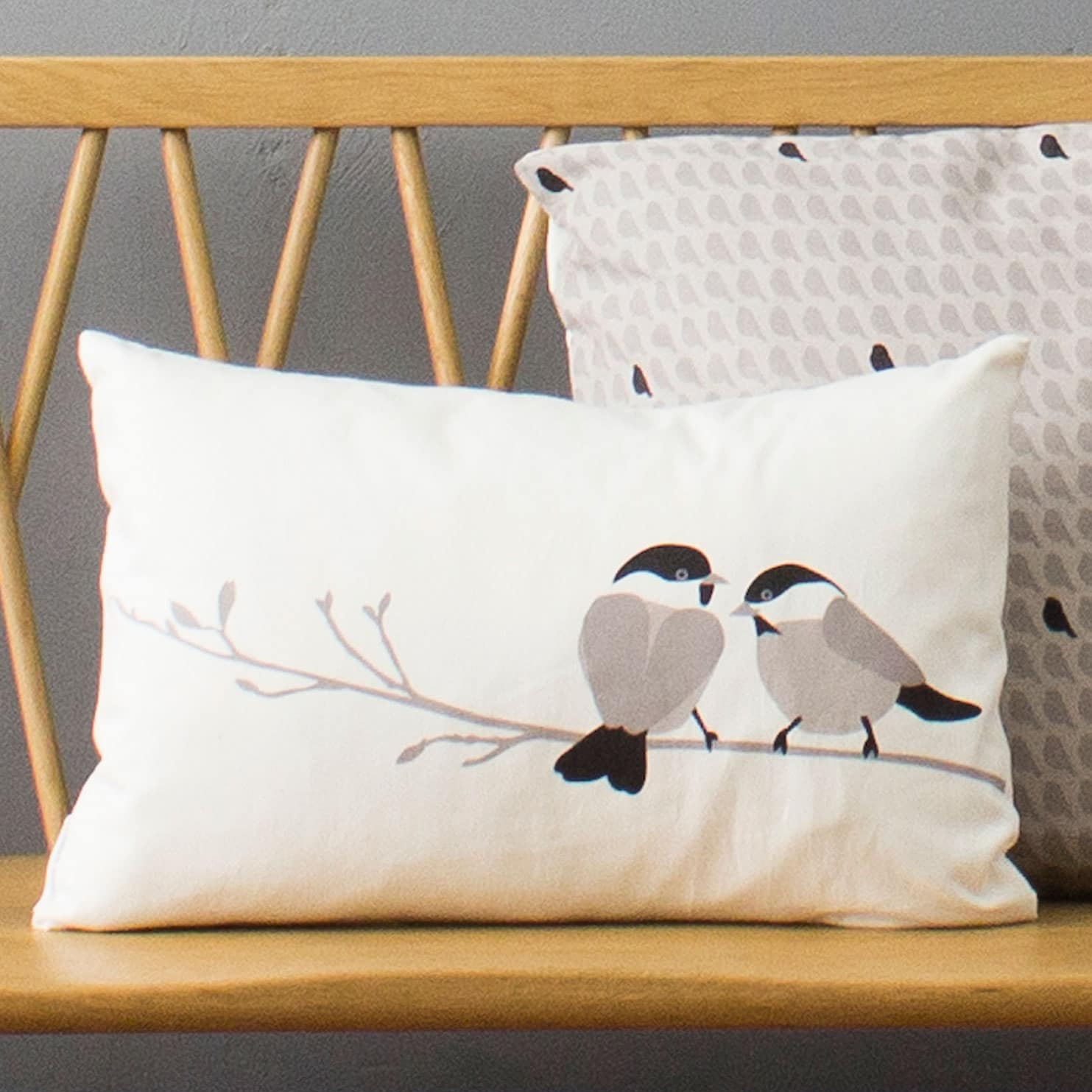 Bird cushion - willow tit design - grey - lorna syson interiors