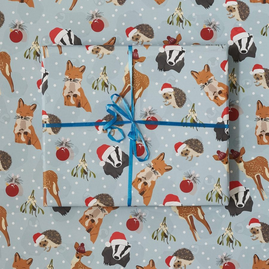 Woodland animal wrapping paper, deer, badger, fox and hedgehog