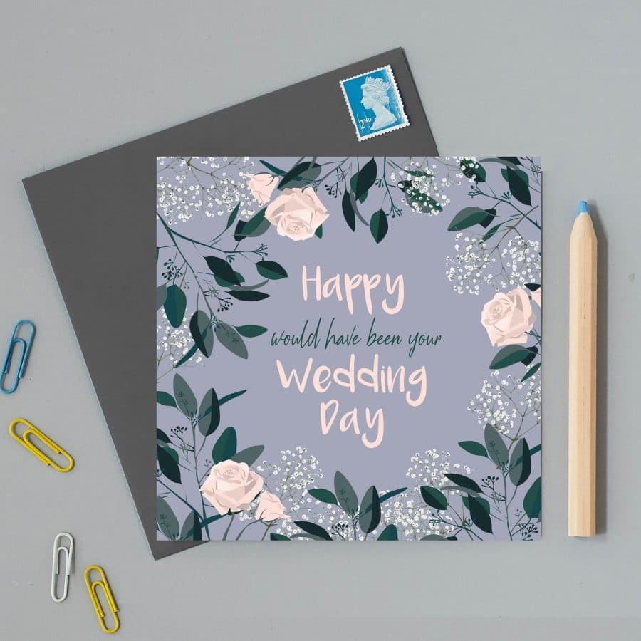 Greetings Card Luxury Designer Personalised Message Sustainable Environmentally Friendly FSC Paper Plastic Free - Happy would have been your wedding day