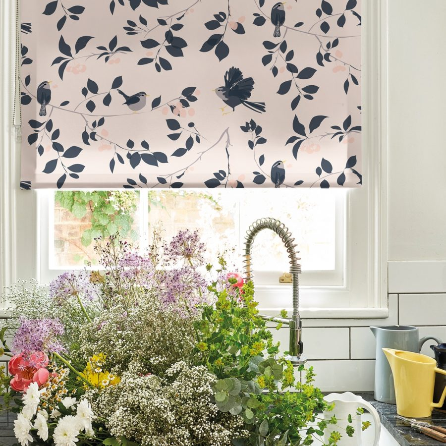 wren and cherry roller blind - cherry tree - lorna syson homeware