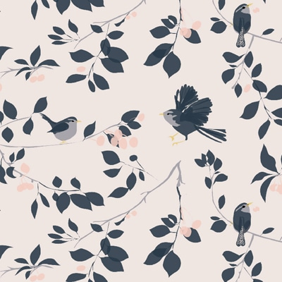 Wren Bird wallpaper - Wren and cherry blossom - Lorna Syson