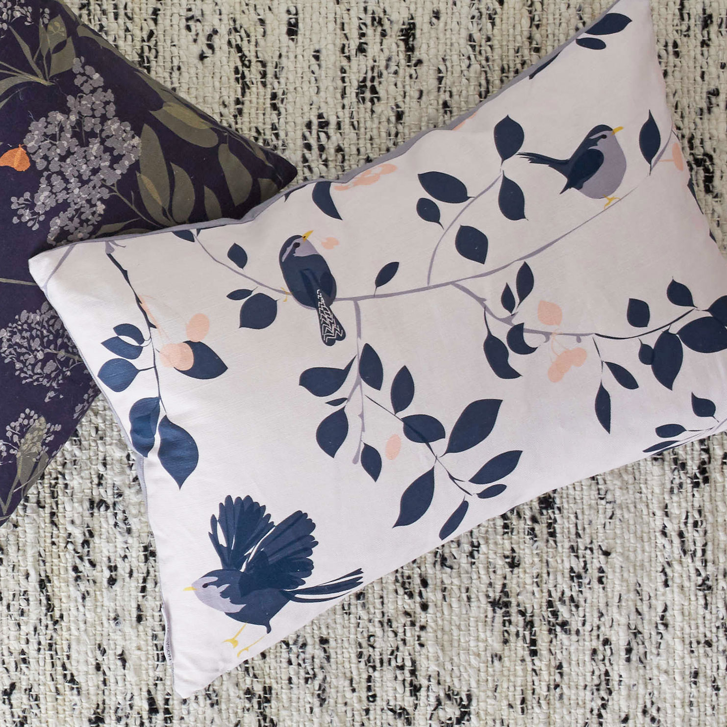 wren and cherry cushion by Lorna Syson