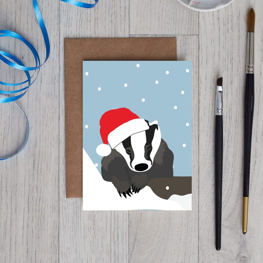 Christmas badger - Borris the badger woodland christmas card by lorna syson