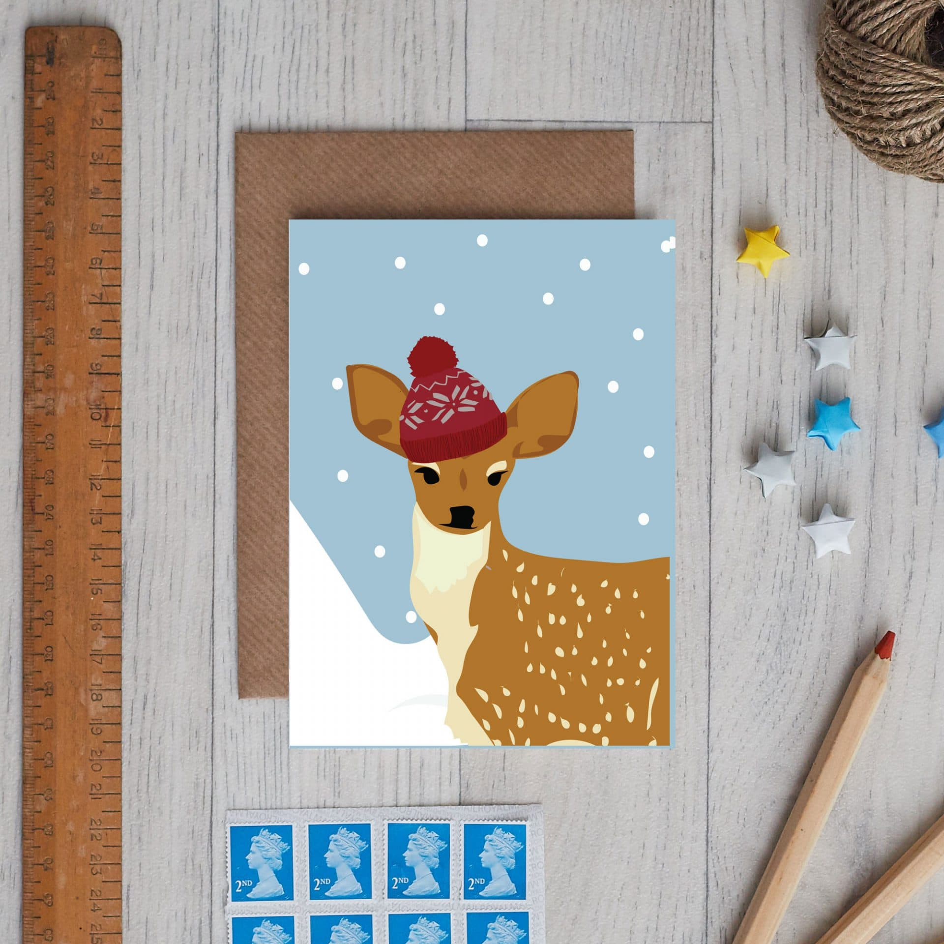 Christmas Card Luxury Designer Personalised Message Sustainable Environmentally Friendly FSC Paper Plastic Free - Christmas Deer card by Lorna Syson