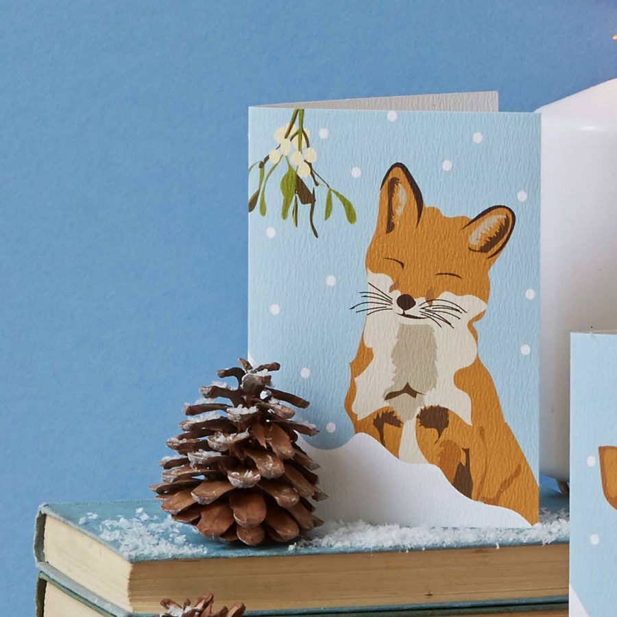 Christmas Card Luxury Designer Personalised Message Sustainable Environmentally Friendly FSC Paper Plastic Free - Lorna Syson Christmas fox card