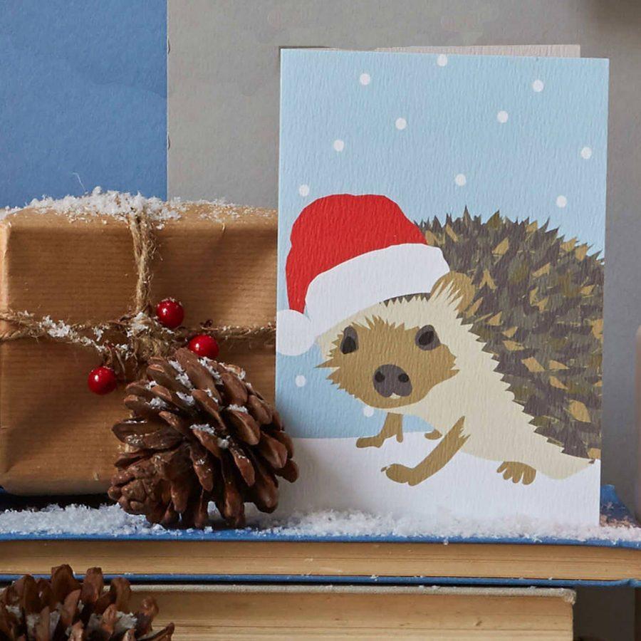 Christmas hedgehog designed by Lorna Syson