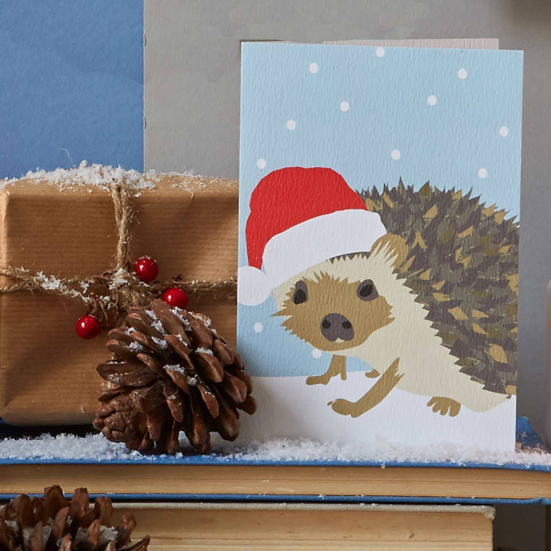 Christmas Card Luxury Designer Personalised Message Sustainable Environmentally Friendly FSC Paper Plastic Free - Christmas hedgehog designed by Lorna Syson