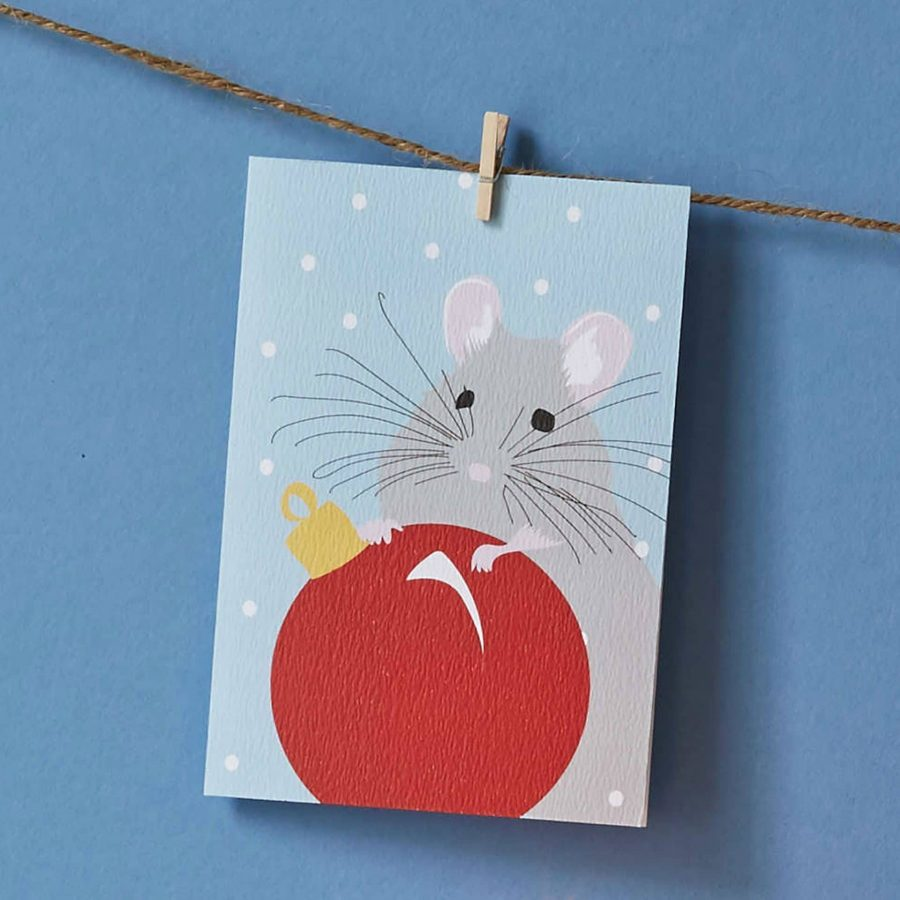 Christmas Card Luxury Designer Personalised Message Sustainable Environmentally Friendly FSC Paper Plastic Free - Christmas mouse by Lorna Syson