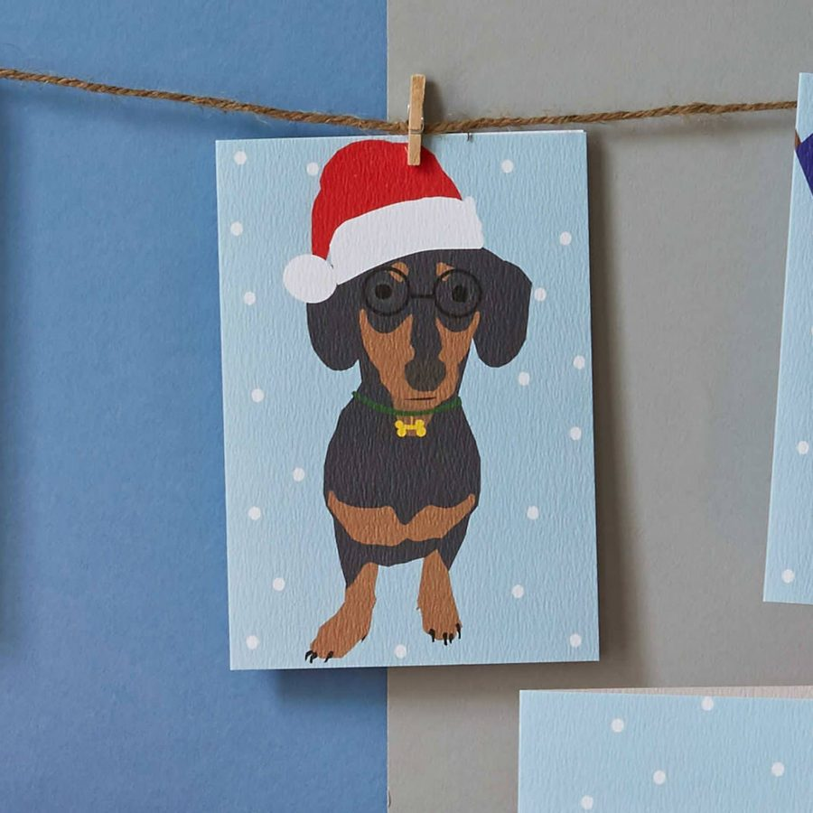 Christmas sausage dog card