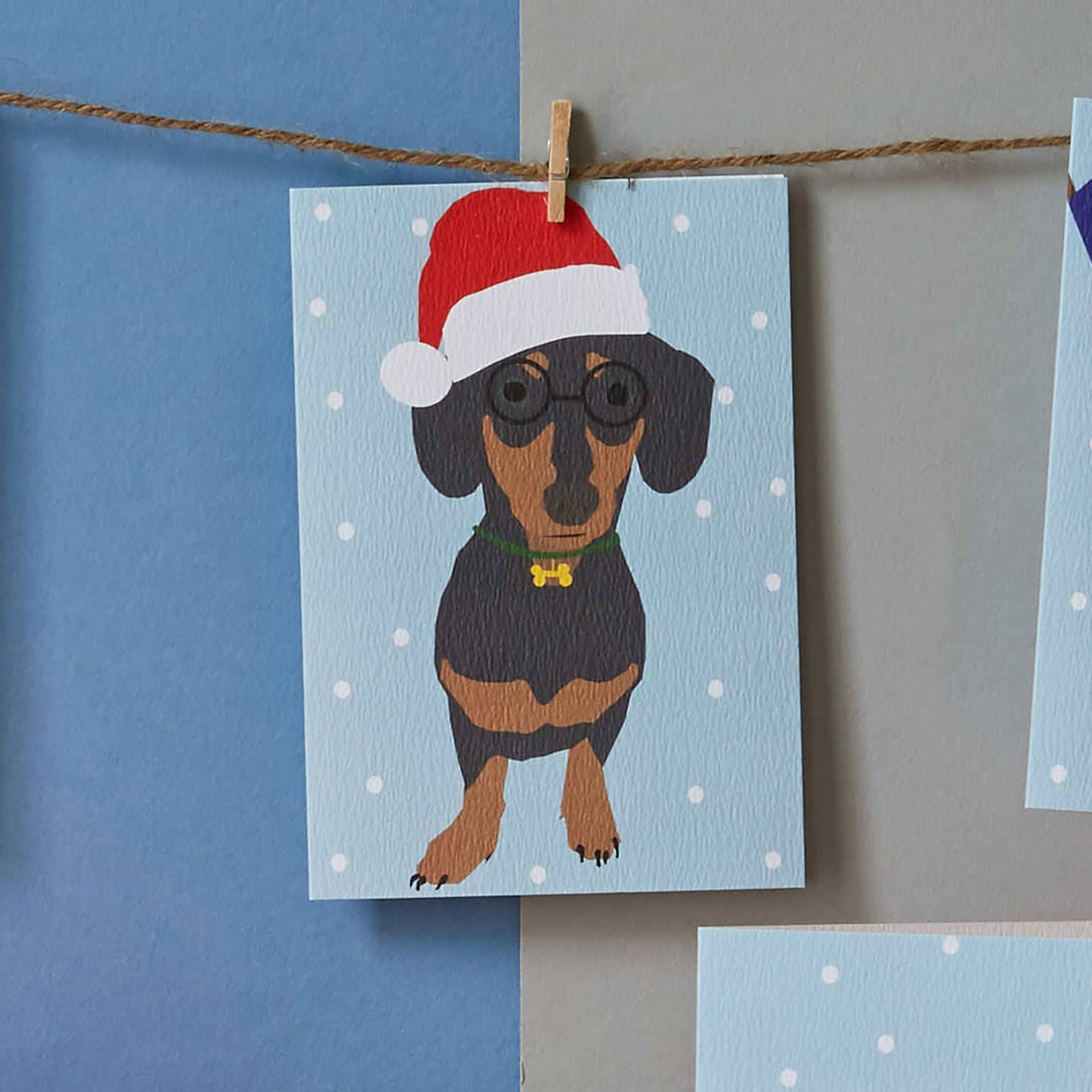 Christmas Card Luxury Designer Personalised Message Sustainable Environmentally Friendly FSC Paper Plastic Free - Christmas sausage dog card