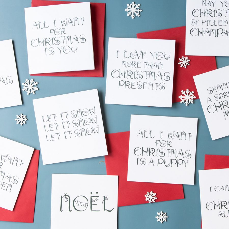 luxury christmas card, word christmas card, plastic free card, sustainable greeting card, luxury christmas card, noel card, FSC card