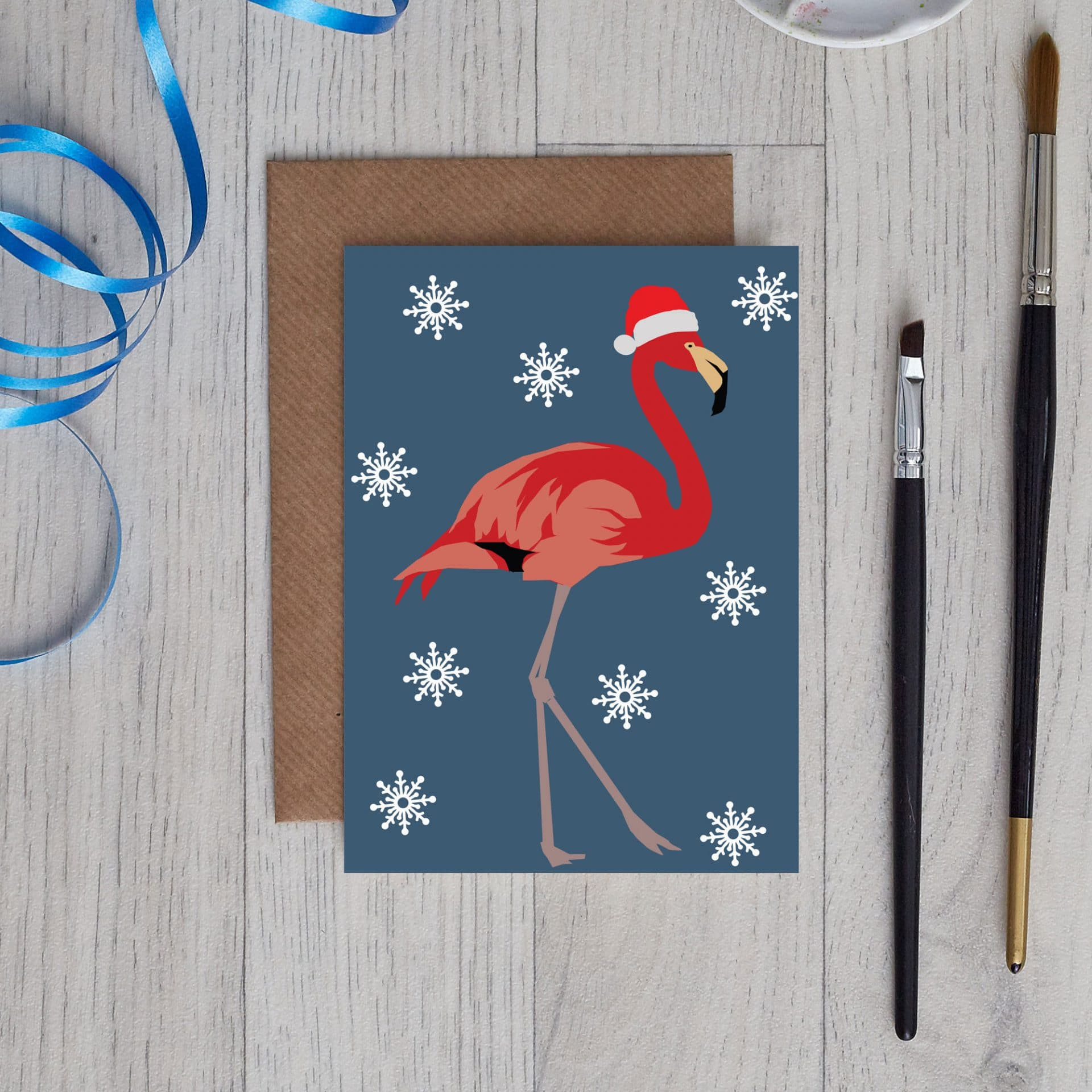 Christmas Card Luxury Designer Personalised Message Sustainable Environmentally Friendly FSC Paper Plastic Free - Christmas flamingo