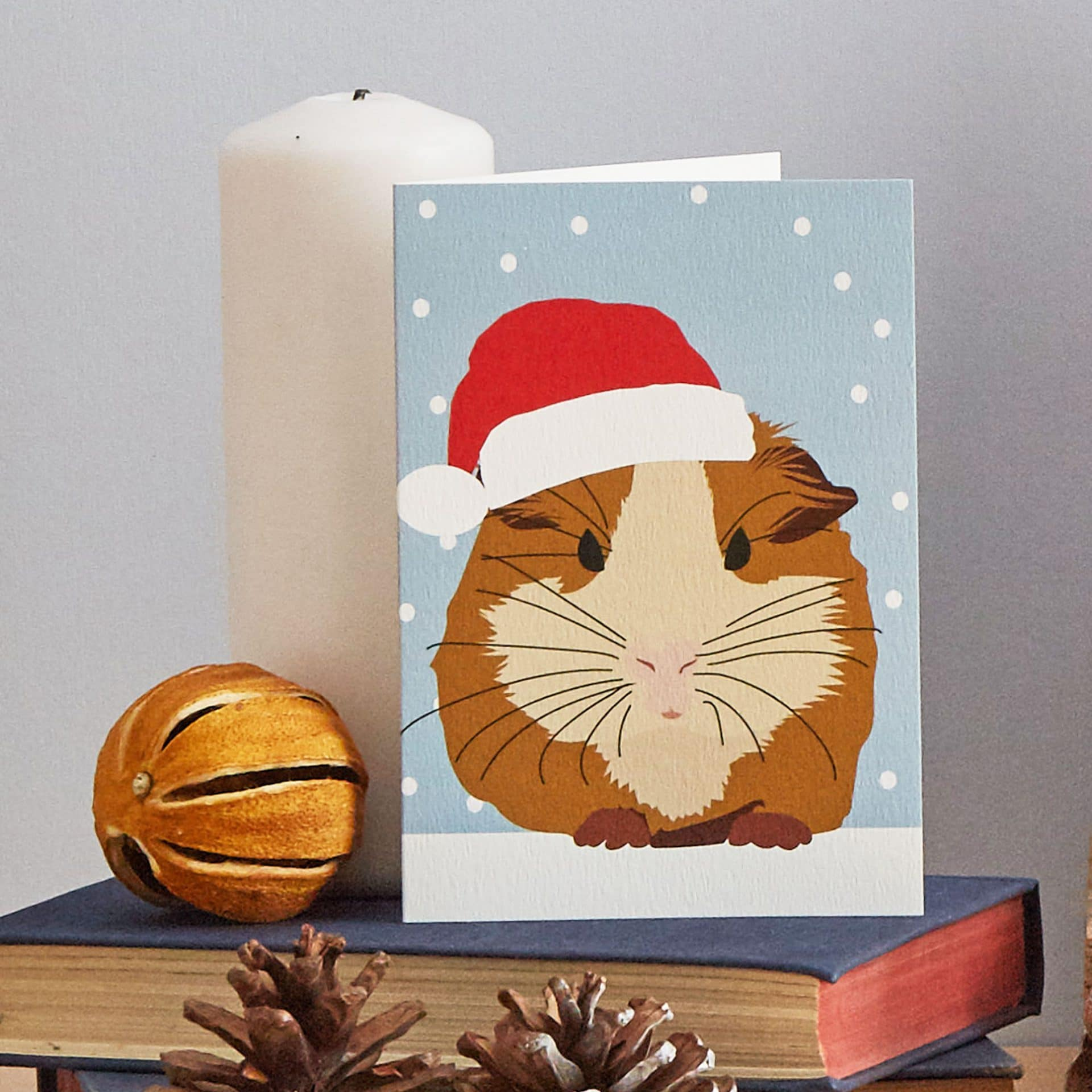 Christmas Card Luxury Designer Personalised Message Sustainable Environmentally Friendly FSC Paper Plastic Free - Christmas guinea pig greeting card