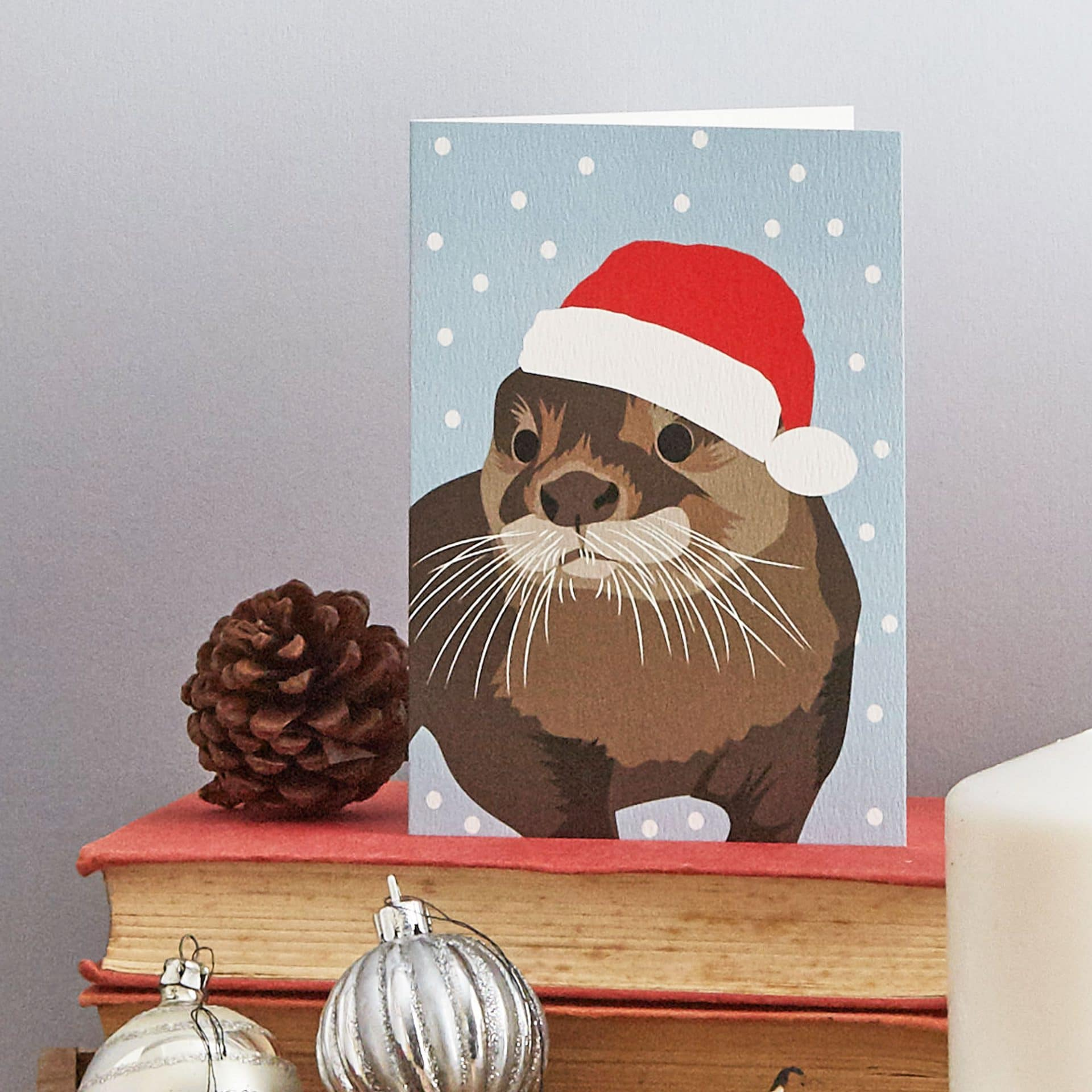 Christmas Card Luxury Designer Personalised Message Sustainable Environmentally Friendly FSC Paper Plastic Free - otter Christmas greeting card by Lorna Syson