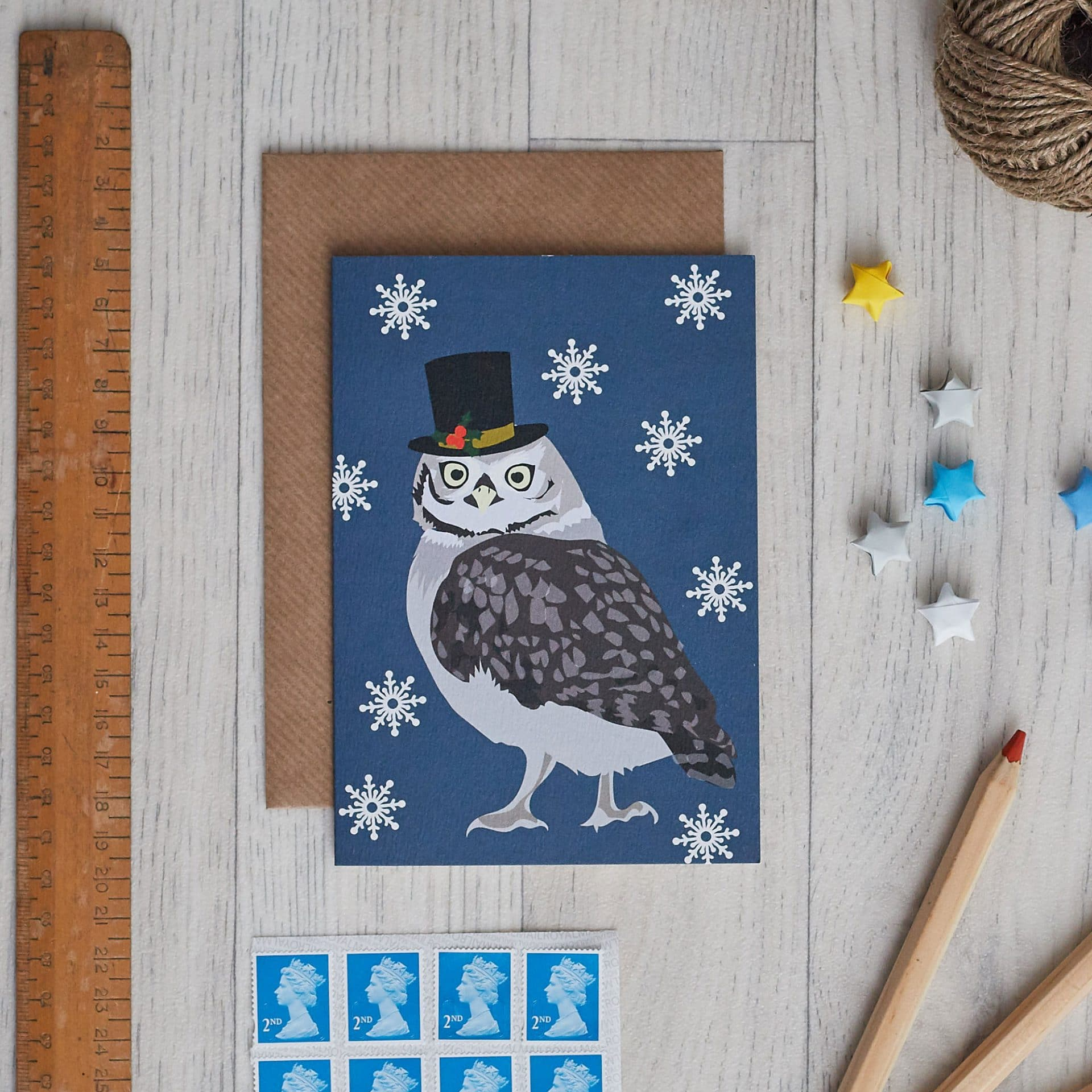 Christmas Card Luxury Designer Personalised Message Sustainable Environmentally Friendly FSC Paper Plastic Free - Christmas owl card by lorna syson