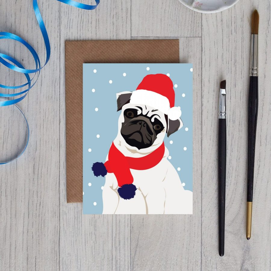 Christmas card with pug wearing santa hat by Lorna Syson