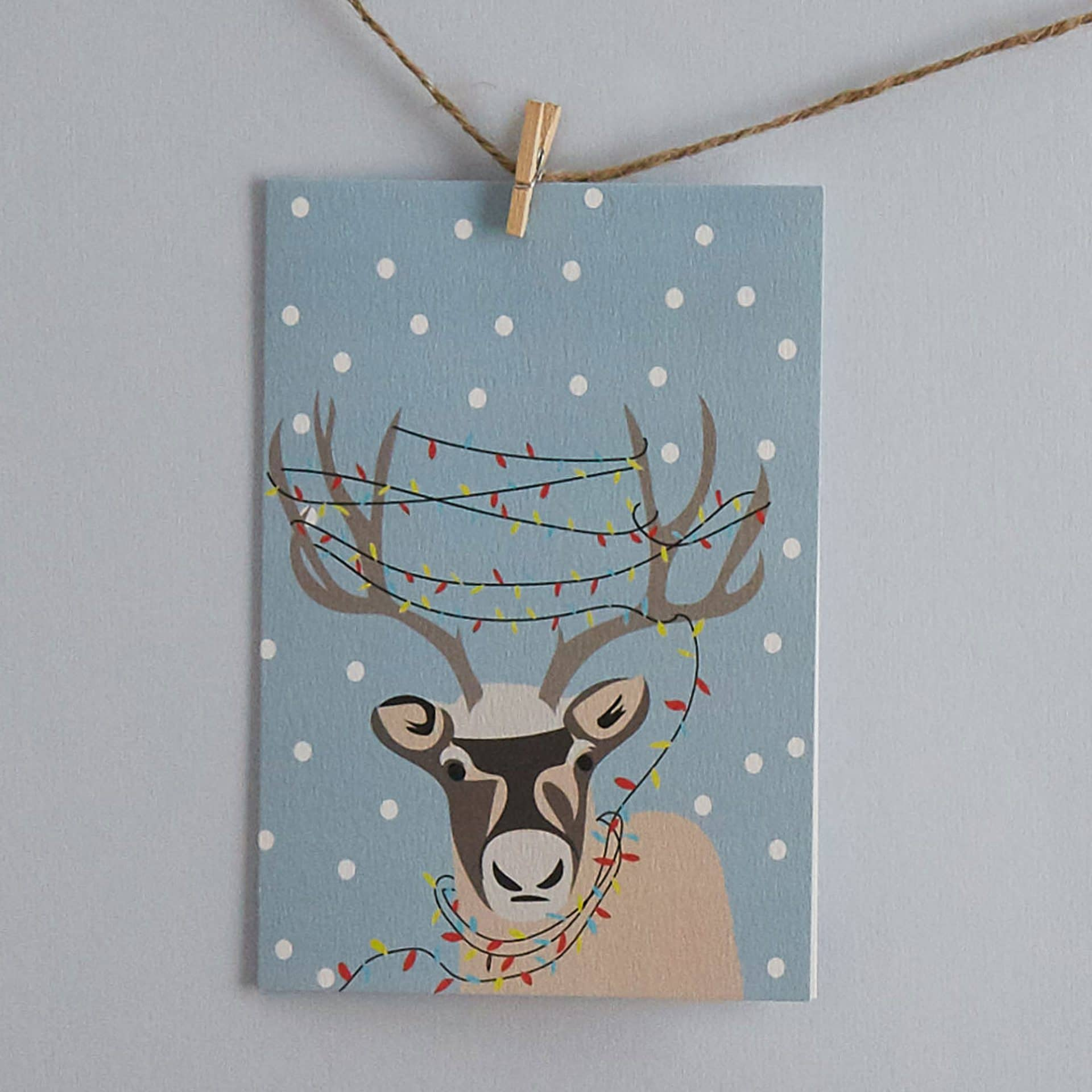 Christmas Card Luxury Designer Personalised Message Sustainable Environmentally Friendly FSC Paper Plastic Free - Lorna Syson designs Christmas card with reindeer