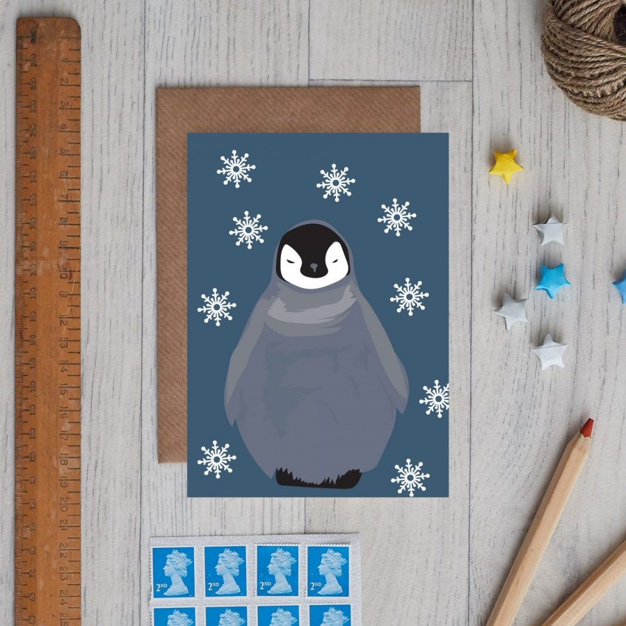 Christmas Card with a baby penguin called thea
