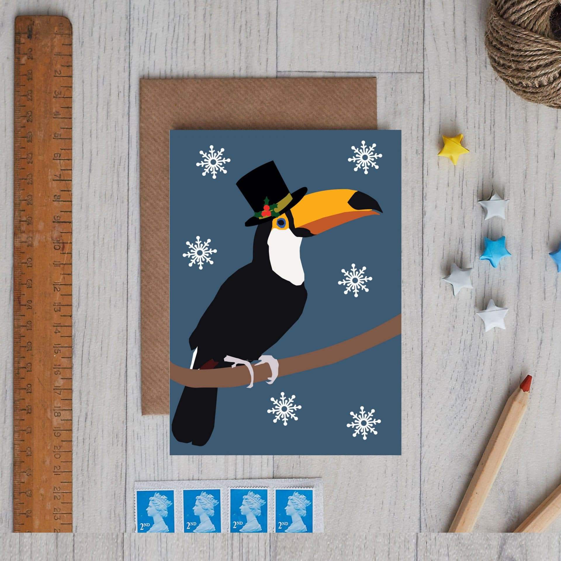 Christmas Card Luxury Designer Personalised Message Sustainable Environmentally Friendly FSC Paper Plastic Free - Christmas toucan card designed by lorna syson