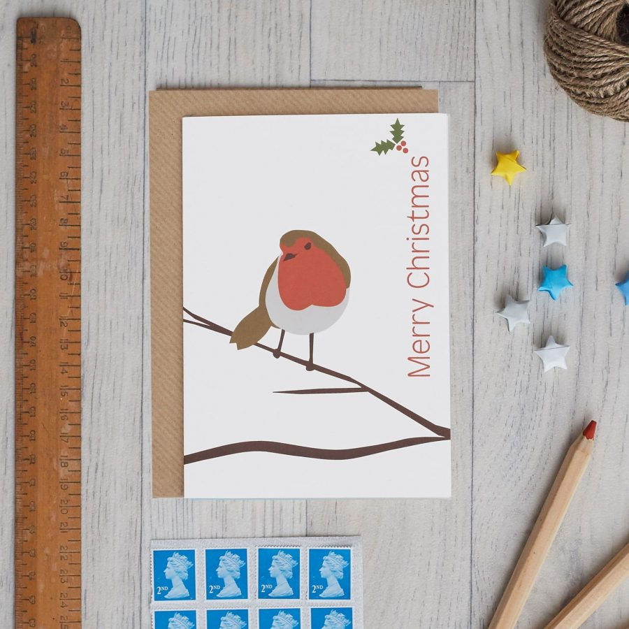 Single Robin Card by Lorna Syson, Christmas card design