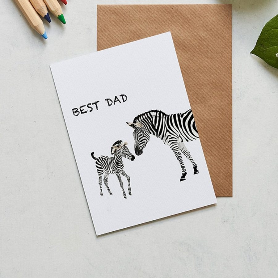 Greetings Card Luxury Designer Personalised Message Sustainable Environmentally Friendly FSC Paper Plastic Free - Father's Day Card - Best Dad - Zebra Illustration - Lorna Syson